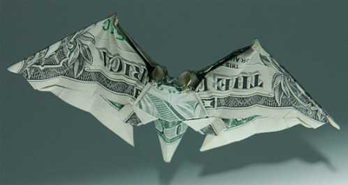 one dollar bill origami bat