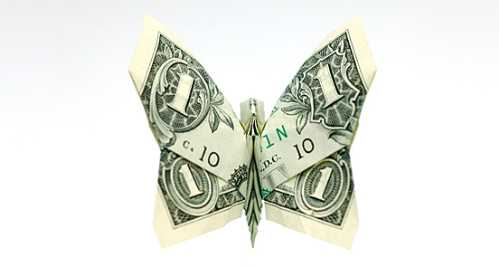 one dollar bill origami butterfly