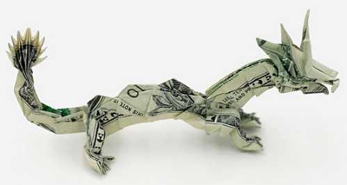 one dollar bill origami chinesedragon