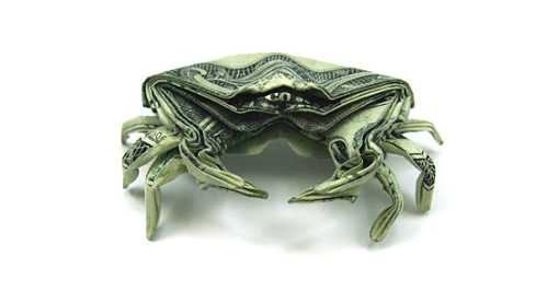 one dollar bill origami crab