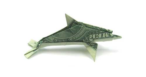 one dollar bill origami dolphin