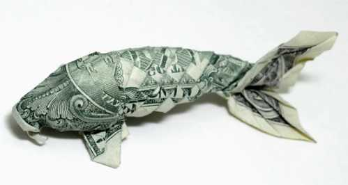 one dollar bill origami fish