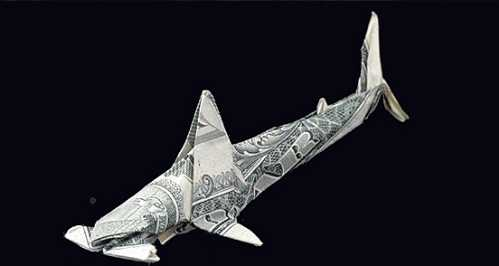 one dollar bill origami hammerheadshark