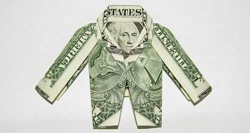 one dollar bill origami jacket