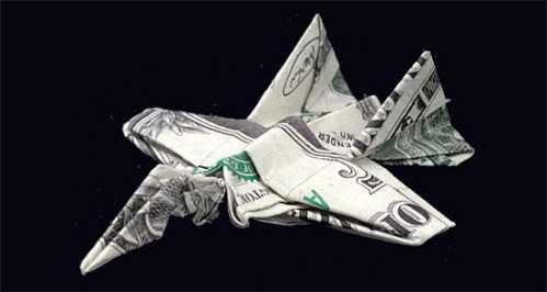 one dollar bill origami jet