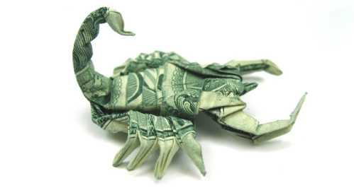 one dollar bill origami scorpion