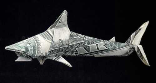one dollar bill origami shark