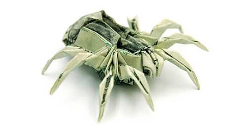 one dollar bill origami spider