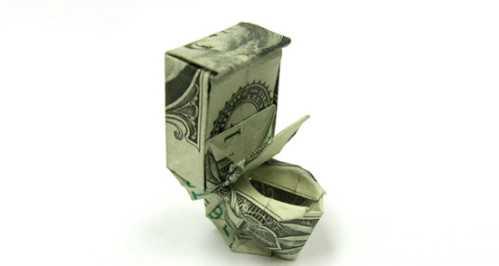 one dollar bill origami toiletbowl